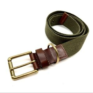 J. Crew Olive Green Jute & Leather Belt 36